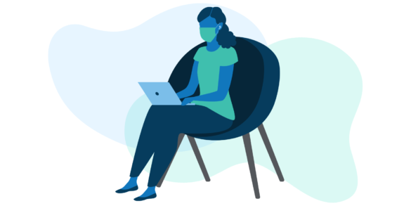 Illustration of woman with mask on at laptop